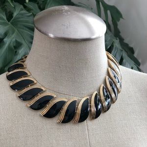 Vintage Black & Gold Butler Enamel Collar Necklace